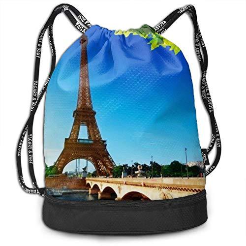 XCNGG Torre Eiffel bajo el Cielo Azul París Francia Mochila con cordón con Compartimento para Hombres Mujeres Estudiantes Niños Mochila atlética de Moda para la Escuela Baile Compras