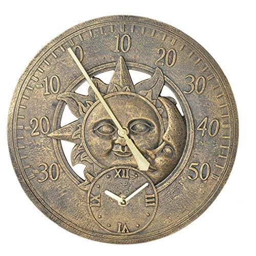 Sanfiyya Estación de la Pared del jardín al Aire Libre de la Vendimia del Reloj del termómetro del Reloj Decorativo Colgante Retro del Modelo de Reloj Impermeable Sol y la Luna