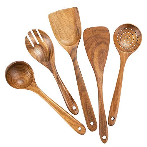 Ustensiles de cuisine en bois pour cuisine, cuillères en bois bio pour ustensiles de cuisine pour ustensiles de cuisine antiadhésifs, 100% fait à la main en bois de teck naturel sans aucune peinture,