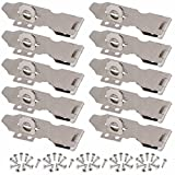 Wideskall 3' inch Zinc Plated Swivel Safety Hasp and Staple with Screws (Pack of 10)