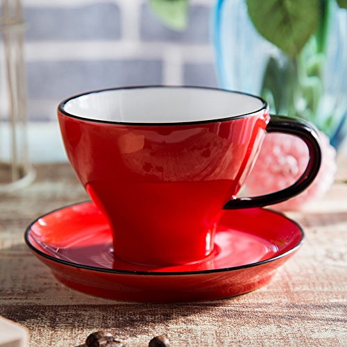 Amateurs de Glaçure Couleur Européenne Tasse à Café Ensemble de Vaisselle Cuillère de Montage Pull Fleur Cappuccino Tasse Tasse 220 Ml,C
