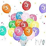 Globos 3 Años Cumpleaños, Globos 3 Años, Globo Cumpleaños 3 Años Niño, Globo Numero 3, Globos Colores Surtidos, Decoración Cumpleaños 3 Años para Niños y Niñas, Ideal para Fiesta de Cumpleaños