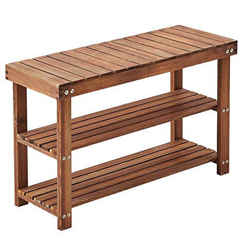 Rose Home Fashion Shoe BenchSolid Pine Wood Shoe Rack BenchShoe Organizer 3 Tier Holds Up to 300 LbsCan Sit Rustic Grain Shoe Rack Entryway