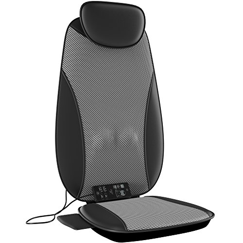 Gideon Luxury Full Back Shiatsu Massaging Cushion with Heat + Vibration/Powerful 3D Deep Kneading + Multiple Vibrating Points at Thighs – Massage, Sooth, Relax and Relieve Aches, Pains and Knots