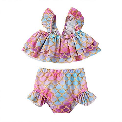 MAHUAOYIXI Disfraces de bao para nia Ruffles Bikini Set de dos piezas Traje de bao con tirantes de volantes nia Vestido de natacin con motivo de escamas de pez, playa fucsia 4-5 Aos