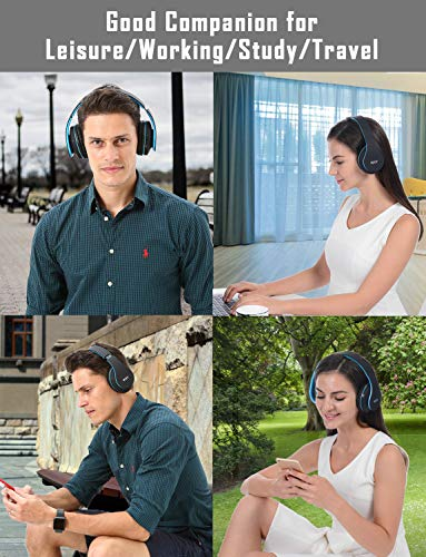 Over Ear Bluetooth Headphones, WXY Wireless Headset V5.0 with Built-in Mic, Micro TF, FM Radio, Soft Earmuffs & Lightweight for iPhone/Samsung/PC/TV/Travel(Black-Blue) 5