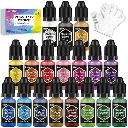 Colorant Resine Epoxy - 18 Couleurs Pigment de Resine Epoxy Liquide - Colorant Resin Epoxy Concentré pour Coloration Résine, Fabrication Bijoux, Peinture, Artisanat, Loisirs Créatifs(10ml)