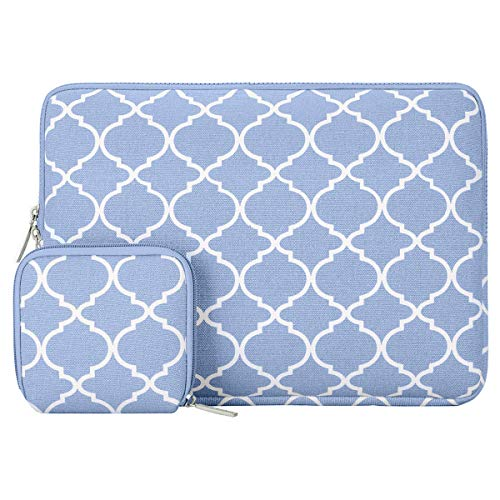 MOSISO Laptop Sleeve Compatible with 2018-2020 MacBook Air 13 inch A2179 A1932, 13 inch MacBook Pro A2251 A2289 A2159 A1989 A1706 A1708, Canvas Quatrefoil Bag Cover with Small Case, Serenity Blue