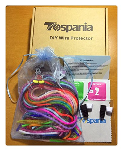 Set of 28 Tospania DIY Spiral Wire Protectors for All Cell Phones, Computers, and Tablets
