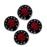 Musiclily Metric Size Plastic Guitar Control Speed Knobs for Epiphone LP Les Paul SG ES Electric Guitar,Red Skull Black Body(Pack of 4)