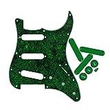 FLEOR Golpeador de guitarra eléctrica con perillas de control 2T1V Fundas de pastilla de 50 mm Punta de interruptor de palanca para parte de guitarra Fender Stratocaster, Perla verde