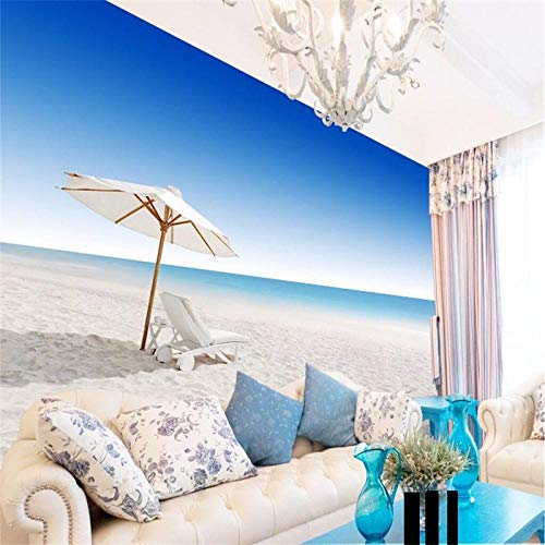 Papel tapiz fotográfico 3D No tejido fotomurales 350(W)X256(H) cm Moderna Murales Papel Pintado para Decoración de Paredes de Dormitorio y Salón Sillones de playa
