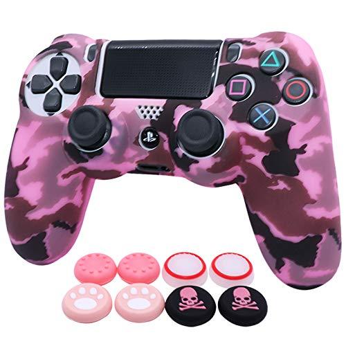 Ralan Schutzhülle für PS4 Controller, Silikon, kompatibel mit PS4 Slim/PS4 Pro Controller (Pink Pro Daumengriff, 2 Schädelkappen-Griff), Camo