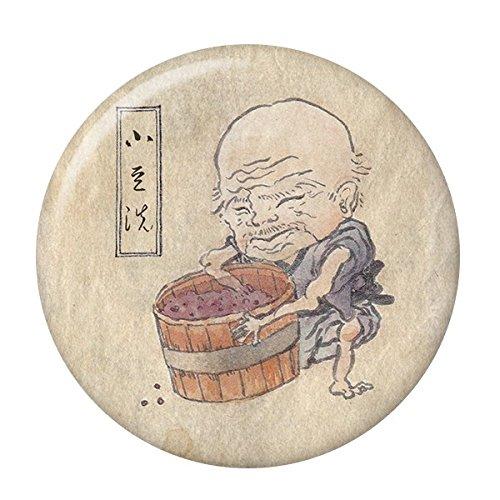 妖怪缶バッジ 【小豆洗・ミニブック付き】 ストラップタイプ