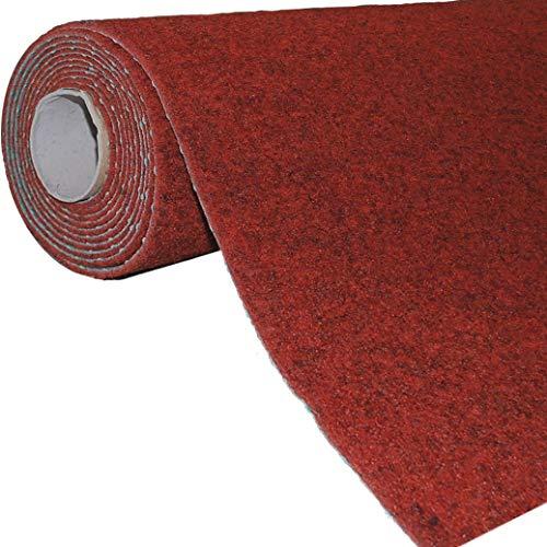 havatex Rasenteppich Kunstrasen mit Noppen 1.550 g/m² - Rot Blau Grau Braun Beige oder Anthrazit   Meterware   wasserdurchlässig   Balkon Terrasse Camping, Farbe:Rot, Größe:200 x 350 cm