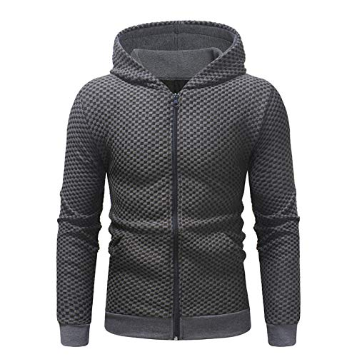 YINLAN Mens Casual Comfortable Hoodies Hooded Solid Color Cardigan Pullover Jumper Warm Work Out Sweatshirt Outwear Tops Mens Slim Fit Long Sleeve Cotton Linen Hoody Outwear Sportwear Jacket Coats
