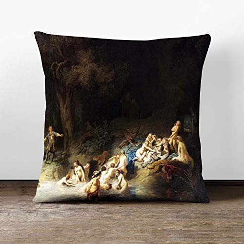 Big Box Art Cushion and Cover - Rembrandt Diana and Actaeon Anholt Castle - Single Square Throw Pillow - Soft Faux Suede Material - Double-sided - 40x40 cm