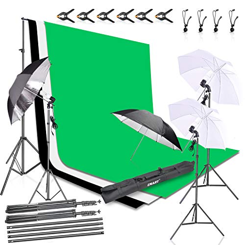 Emart Photography Photo Video Portrait Studio Daylight Umbrella Continuous Light Kitwith 8.5 x 10ftBackground Support System, 3pcs 6x 9ft Backdrops Screen (Green White Black) and 4pcs Umbrellas