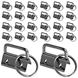 100 Pcs 1 Inch Key Fob Hardware, Dveda Metal Keychain Wristlet with Keyrings, Wristlet Keychains for Women Men for Bags, Belt, Wallet, Ribbon and Other Hand Craft (Black)