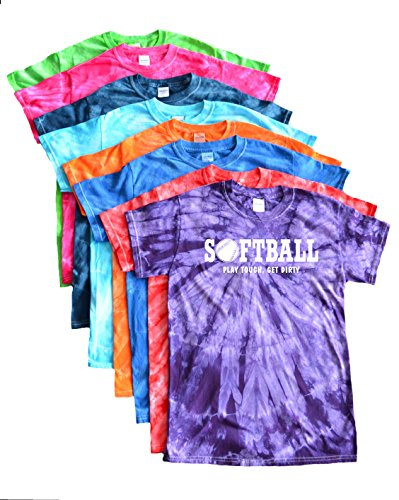 JANT girl Softball Tie Dye T-Shirt - Play Tough, Get Dirty White Logo (Turquoise, YM)