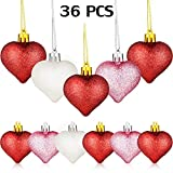 WILLBOND 36 Pieces Heart Shaped Baubles Glitter Heart Shaped Ornaments for Valentine's Day Holidays Decoration, 3 Colors