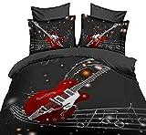 Watpasper Ensemble De Literie Housse De Couette, Musique Rouge Guitare Électrique Rock King (240 X 220 Cm) 3D Imprimé Microfibre Hypoallergique Parure De Lit Amateur Taies d'oreiller Adultes + 2 Taie