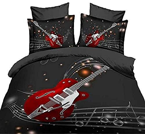 Bevvsovs® Funda Nórdica con Set Música Rojo Guitarra Eléctrica Rock 135 X...