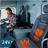 ObboMed SH-4164 24V Funda Calefactora Acolchada de Asiento con Soporte Lumbar, Modelo de Lujo con Enchufe para Encendedor de Cigarrillo Hermético, para Camiones, Autobuses; Negro