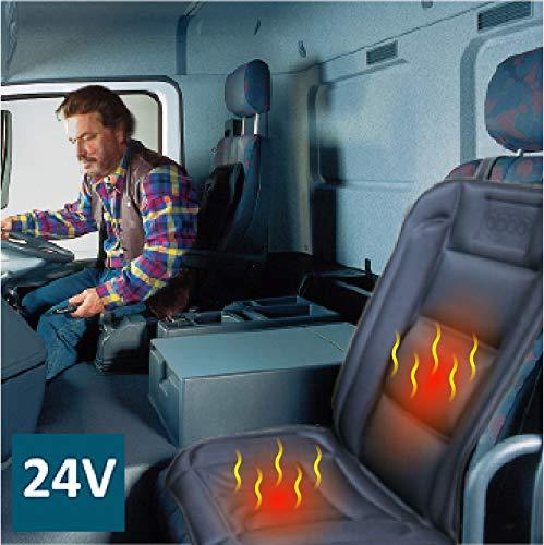 ObboMed SH-4164 24V Beheizbare Sitzauflage Sitzkissen mit Rückenstützung, Deluxe Model mit Premium Zigarettenanzünderstecker für LKW, Bus und Boot mit 24V Bord Batterie; Schwarz