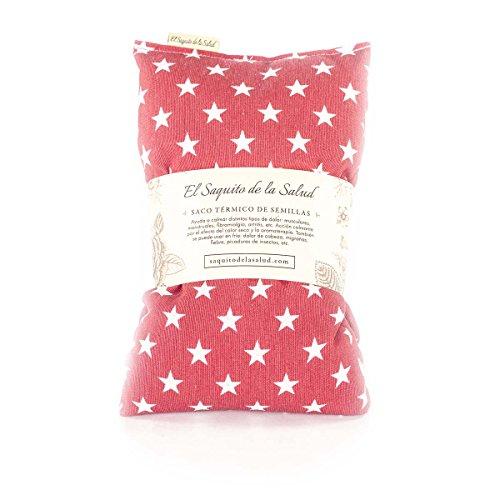 Saco Térmico de Semillas Aroma Lavanda, Azahar o Romero Tejido Rojo con Estrellas (Lavanda, 50 cm)