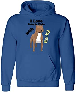 I Love Going for Walks with Rocky, Tshirt for American Pit Bull Owners - Hoodie
