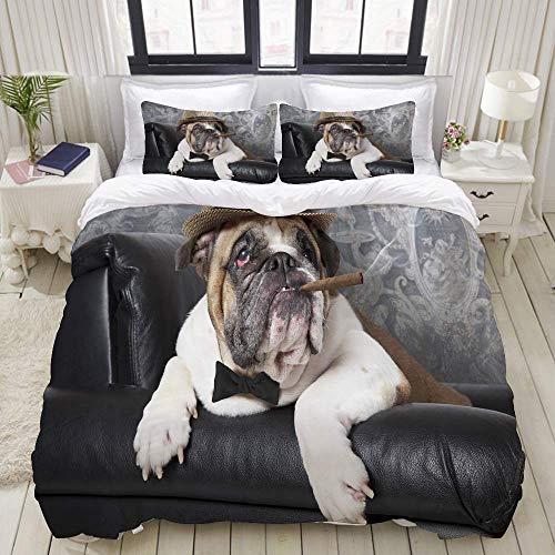 SmallNizi Bettbezug, Porträt Einer englischen Bulldogge, die in einem schwarzen Ledersessel mit Einer Zigarre ruht, Bettwäscheset Ultra bequemes, leichtes Luxus-Polyster-Bettbezug-Set
