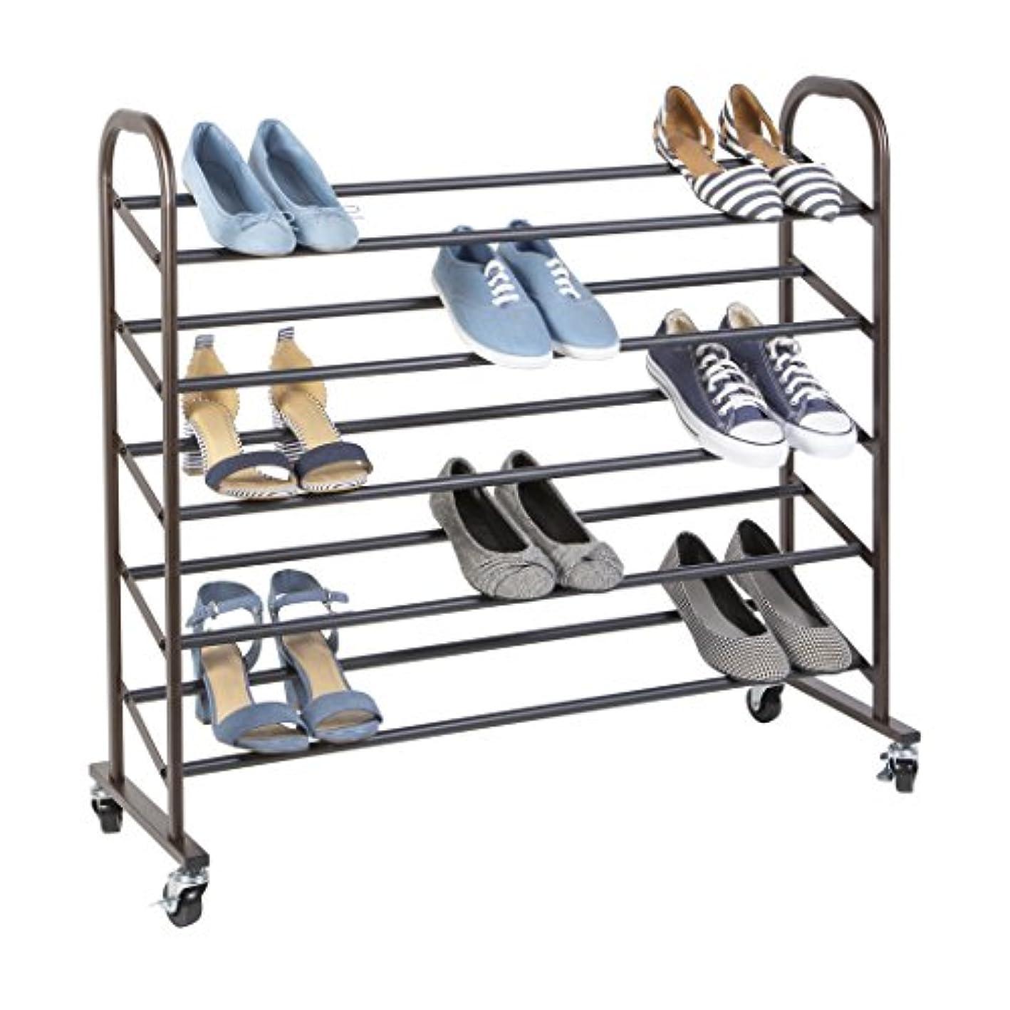 Richards Homewares 25 Pair Free Standing Shoe Rack with Wheels, Bronze