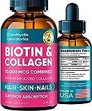 Liquid Biotin for Hair Growth 20000mcg - Biotin & Collagen Liquid Drops Support Hair Health, Strong Nails and Glowing Skin - Perfect for Hair Growth for Men & Women - 2X Power of Biotin 10000mcg