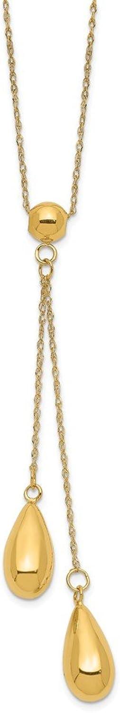 14k Polished Dangle Bead Necklace