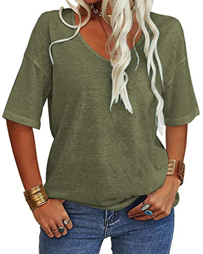 Danedvi Women Fashion V-Neck Half Sleeves T Shirt Solid Casual Loose Basic Tops Army Green