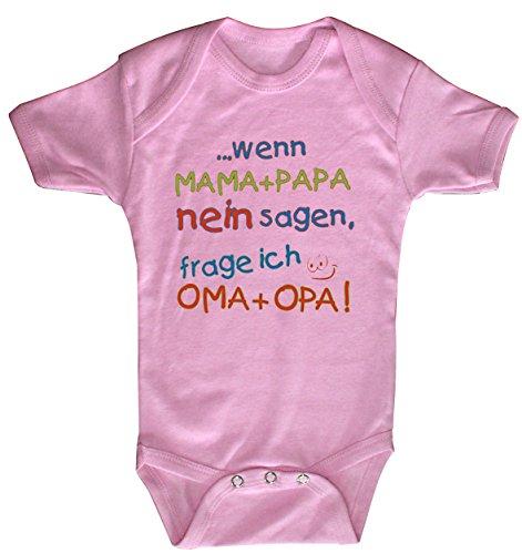 Fan-O-Menal Textilien Babystrampler mit Print – Mama + Papa nein sagen, frage ich Oma + Opa - 08351 Gr. 0-24 Monate - versch. Farben Color rosa, Size 6-12 Monate