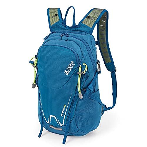 Terra Peak Active 20 Wanderrucksack 20 Liter Rucksack zum Wandern blau klein Skirucksack survival zum Trekking mit Regenhülle und gepolstertem Tragesystem für optimal für lange Touren