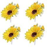 4Pieces/lot Artificial Sunflower Groom Boutonniere Man Women Bride Wrist Corsage Artificial Wedding Flowers Party Decoration (YW-Boutonniere)