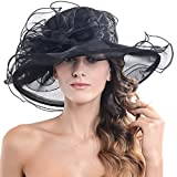 FORBUSITE Kentucky Derby Church Hats for Women Dress Wedding Hat Black