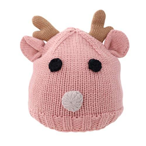 YQQMC Niño del bebé de algodón Forrado de Invierno Sombrero Hecho Punto astas Lindo Caliente del Casquillo del Cervatillo for Niños Niñas Gorra de Esquiar (Color : Pink, Size : 6-36 Months)