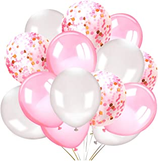 Konsait 50 Pieces 12 Inches Latex Balloons Confetti Balloons Pink and White Balloons Helium Balloons Party Supplies for We...
