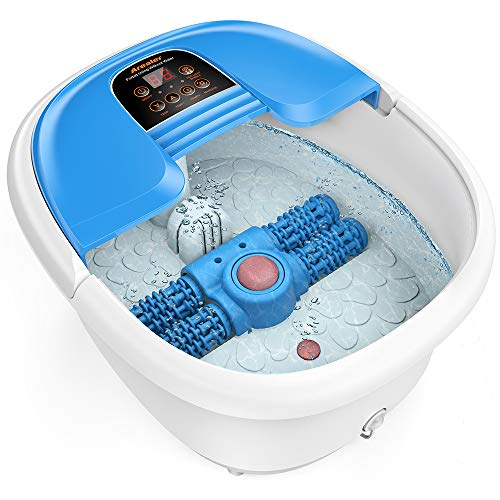 Foot Spa and Massager, Foot Bath with Auto Pedicure Massage Roller, AREALER...