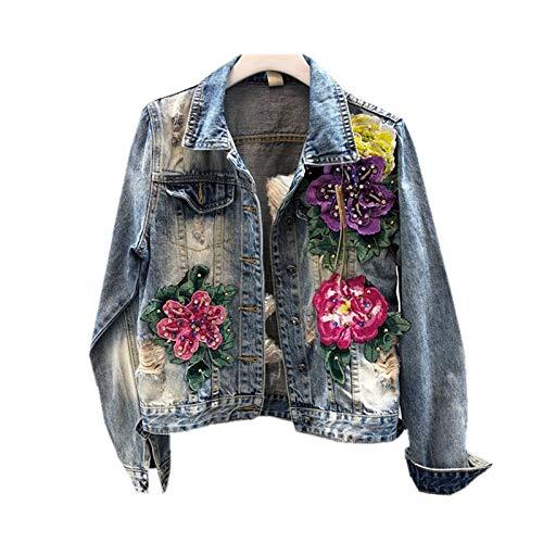 NZJK Vintage Denim Jas Vrouwen Basic Jas Herfst Bloem Borduurwerk Kralen Denim Jas Casual Jeans Dames Bomber Jas