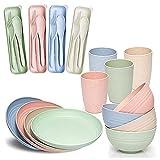 Runtodo Juego de cena de paja de trigo (28 piezas) ligero e irrompible, platos reutilizables, tazas, cuencos y cubiertos