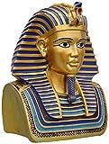 CMmin Gartendeko Ägyptische Verzierung Tutanchamun Büste mit goldenen Maske Skulptur Replica Weinlese-Harz Dekorative Statue Haus und Garten Dekoration Figur