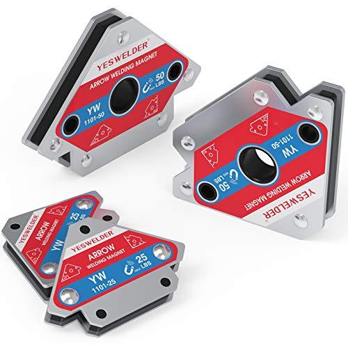 YESWELDER 25 LB & 50LB Welding Magnet-4 Pieces of Magnetic Welding Holder 25 LBS /50 LBs Holding Power Welding Accessories