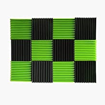 (12 Pk) Green / Charcoal acoustic foam tiles soundproofing foam panels sound insulation soundproof foam padding sound dampening Studio sound proof padding 1
