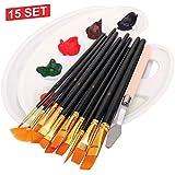 WONSAR 12 - Set di pennelli da artista, 2 palette, 1 coltello da pittura, pennello in nylon per acrilico, acquerello, pittura ad olio, set perfetto per bambini, principianti, amanti dell'artista