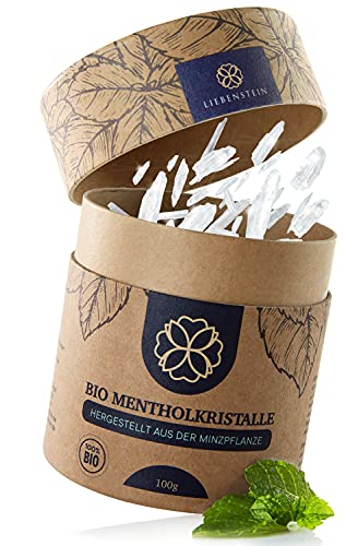 Liebenstein® Bio Mentholkristalle Sauna [100g] – nachhaltige Verpackung und Dosierlöffel aus Holz – Premium Bio Qualität aus 100% reiner Minze – langanhaltendes, erfrischendes und wohltuendes Aroma